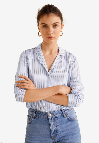 Mango blue Satin Print Shirt A7887AA62587DEGS_1