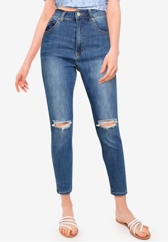 Cotton On blue High Rise Cropped Skinny Jean C632BAA405A386GS_1