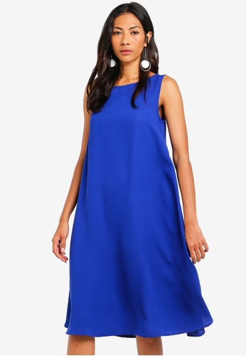 ZALORA BASICS blue Basic Cut Out Back Oversized Shift Dress 0EFA6AA6738526GS_1