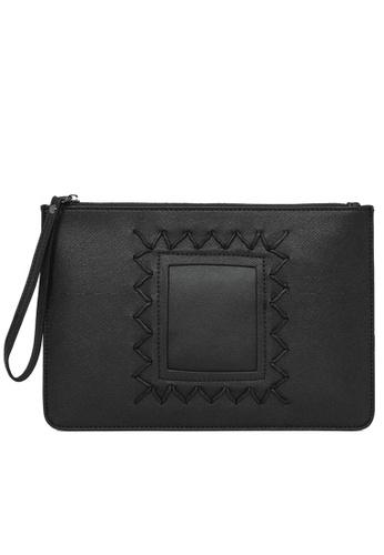 Lara black Plain Zipper Hand Bag - Black 46B56AC4FD9884GS_1