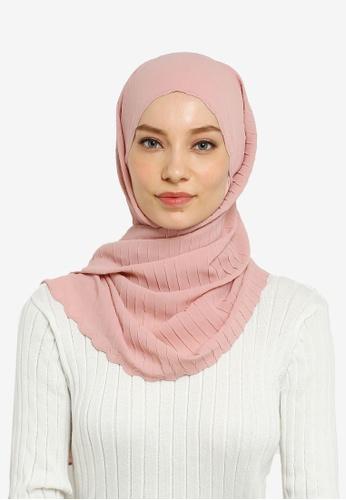 Hijabii pink Lily Textured Chiffon Scarf in Light Pink ACBAAAA40AC987GS_1