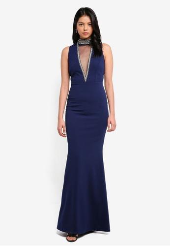 af62e4315b Goddiva navy Stephanie Pratt – High Neck Cut Out Embellished Maxi Dress  F5DBBAA3A68460GS_1