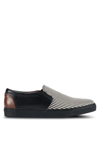 Acuto black and multi Stripe Slip-On Leather Sneakers AC283SH0SL7WMY_1