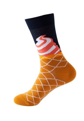 Kings Collection black Ice Cream Pattern Cozy Socks (One Size) HS202176 1A0E9AAFB0F1E4GS_1