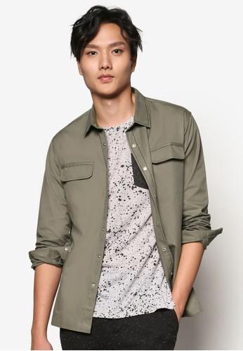 esprit 品牌側拉鍊棉質長袖襯衫, 服飾, 素色襯衫