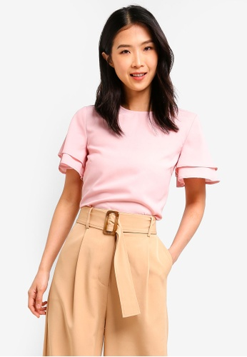 ZALORA BASICS pink Basic Layered Sleeves Top 14977AAD795E34GS_1