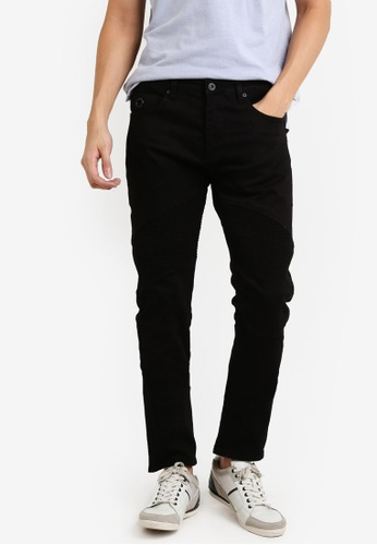 CR7 black Type C Slim Straight Moto Slim Fit Jeans CR532AA93EFAMY_1