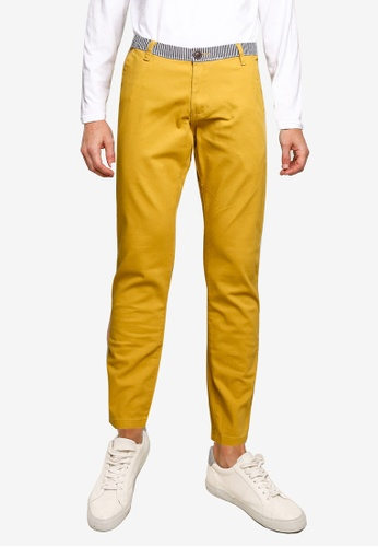 UniqTee 黃色 條紋Waistband 修身Chinos 71EE6AA7796CB8GS_1