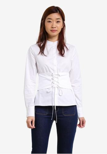 ZALORA white Laced Up Shirt 63CB4ZZ5C0E722GS_1