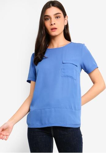 OVS 藍色 Crepe T恤 With 口袋 BCDF0AA12737DEGS_1