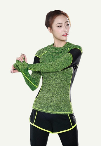 B-Code green ZYG5096-Lady Quick Drying Running Fitness Yoga Sports Hoodie-Green 5413DAA44CA1E7GS_1