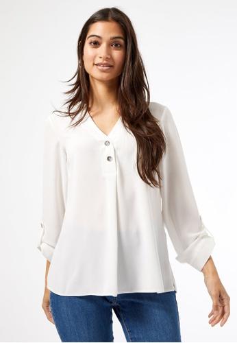Dorothy Perkins white Petite Ivory Roll Sleeve Shirt EA7D2AA2517324GS_1