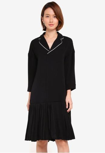 KLEEaisons black Low Waist Pleated Pajama Dress 39D56AA3A73F5EGS_1