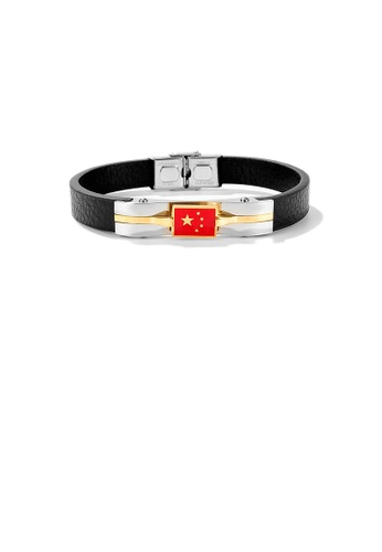 Glamorousky silver Fashion and Elegant 316L Stainless Steel Flag Pattern Leather Bracelet 6A09AAC58501EAGS_1
