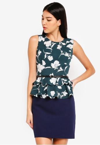 ZALORA green and multi Layered Peplum Dress 1A4C9AA5FE5867GS_1