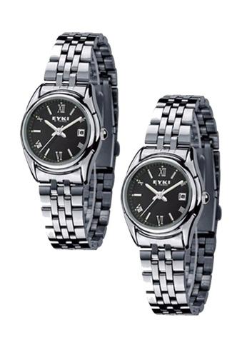 Eyki black and silver Bundle 2 Units EYKI E-Times W8470 Ladies Stainless Steel Watch Silver Black EY078AC0RR7VMY_1