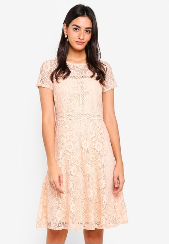 Wallis pink Blush Lace Fit And Flare Dress 93D22AAA477EEAGS_1