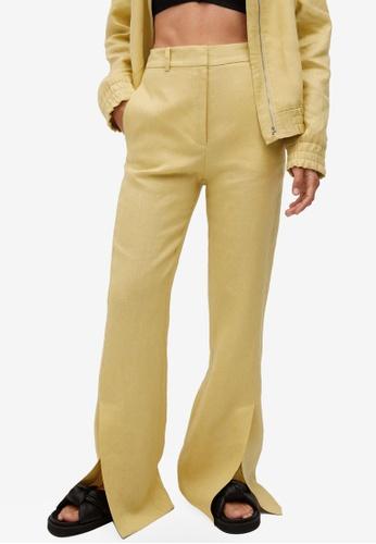 Mango yellow Side Slit Linen-Blend Trousers 2DDA4AA41770DDGS_1