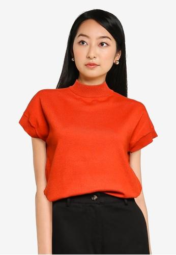 ZALORA BASICS 橘色 高領 短袖 Sweater 6FA15AAB335964GS_1