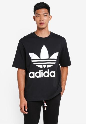 adidas 黑色 寬鬆LOGO印花T恤 20F5DAA79957D4GS_1
