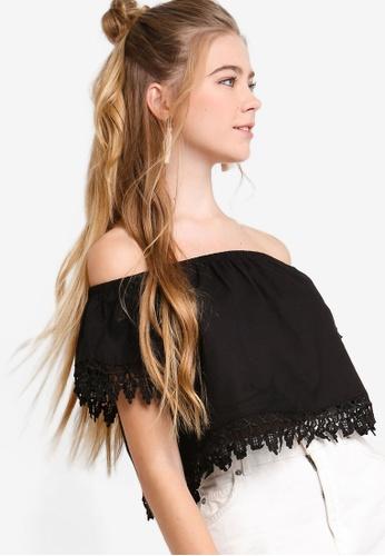 Something Borrowed black Off Shoulder Lace Trim Top E183FAAB13AE07GS_1