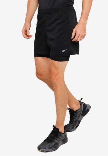 Reebok 黑色 慢跑Essentials 2-in-1 短褲 35B56AAD471EFDGS_1