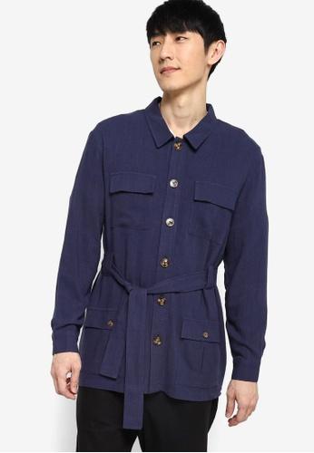 ZALORA BASICS navy Linen Jacket with Tie Belt B4351AA38B888DGS_1