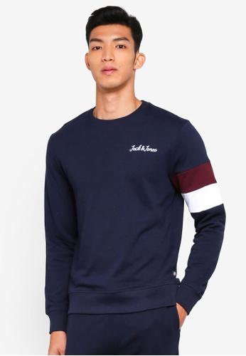 Jack & Jones navy Winks Crew Neck Sweatshirt 9C08AAA2EEEF78GS_1
