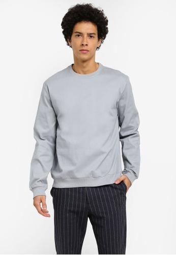 ZALORA blue Oversized Stretch Cotton Woven Sweatshirt 06DF0AAFB82C03GS_1
