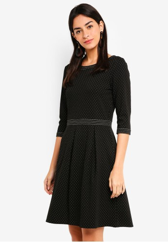 Max Studio black Knit 3/4 Sleeve Inverted Pleats Dress CBD6CAA4482108GS_1