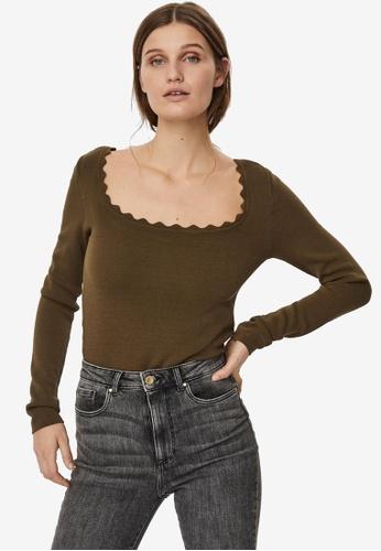 Vero Moda brown Safina Scallopneck Blouse AA95CAAE44836AGS_1