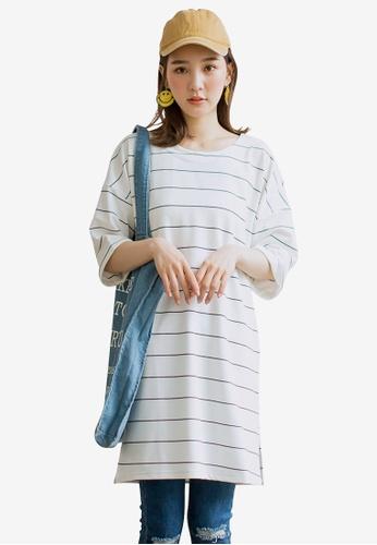 Tokichoi white Striped Oversized Tee EF75CAA24BBDB4GS_1