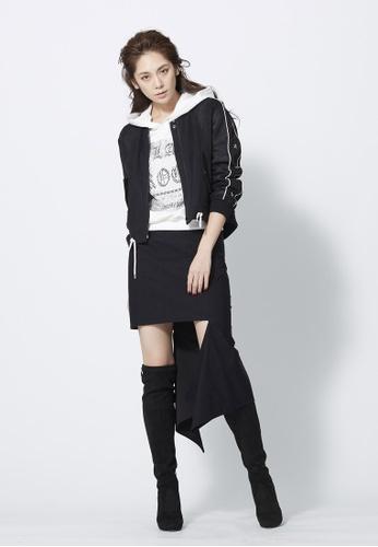 iROO black Asymmetric Draped Skirt 8CF69AAA33E472GS_1