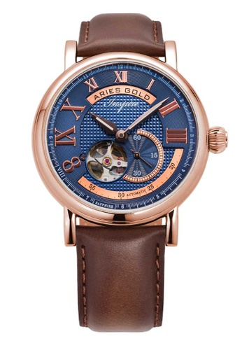 Aries Gold Inspire Gauntlet Blue, Rose Gold and Brown Leather Watch