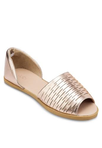 Cube 條紋露esprit 內衣趾平底鞋, 女鞋, 鞋