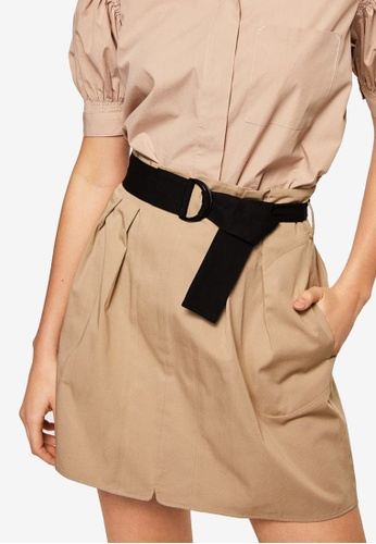 Mango brown Belted Skirt D64C5AADC54A31GS_1