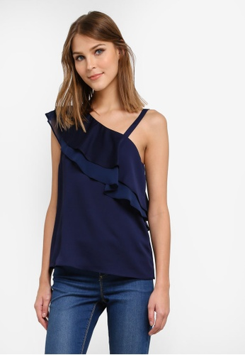 Dorothy Perkins blue and navy One Shoulder Ruffle Top DO816AA0SD44MY_1