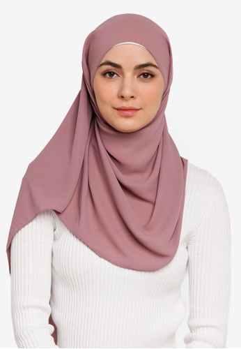 Hijabii pink Huda Chiffon Scarf in Light Maroon A4764AA54091AEGS_1