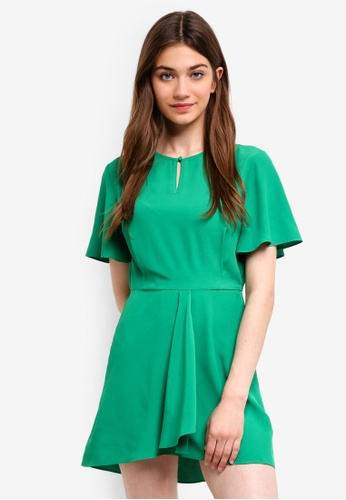 Something Borrowed green Flare Sleeves Fit And Flare Dress 6D665AA8394AE2GS_1
