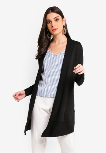ZALORA 黑色 開襟針織罩衫 13A7AAA45FC7C5GS_1