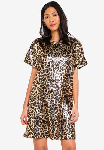 Glamorous multi and gold Metallic Leopard Print Shift Dress 5292CAA1EAC958GS_1