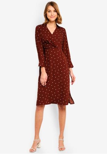 ffd42a07a6e25 Dorothy Perkins brown Petite Ginger Spot Midi Dress 5DD1DAA77883DEGS_1