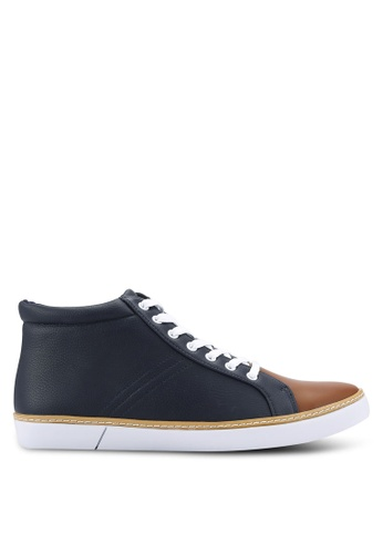 ZALORA navy Casual Duo Tone Laced Up High Top Sneakers CCF1ESH3DC6C3AGS_1