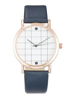 【ZALORA】 格紋圓框PU 帶手錶