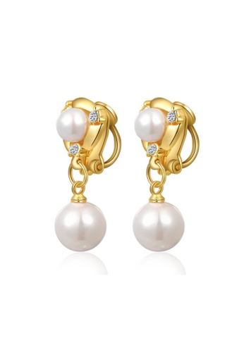 Kings Collection gold Austrian Crystal Gold Double Pearl Earrings 69549AC8E22FCBGS_1