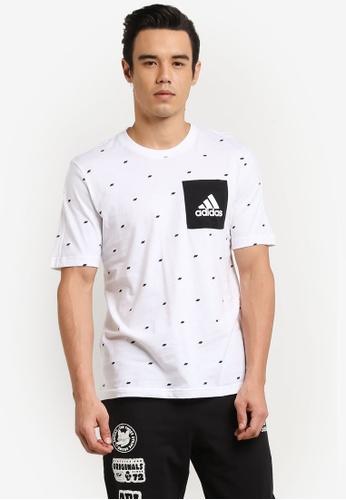 adidas 黑色 短袖印花上衣 AD372AA0RM5SMY_1