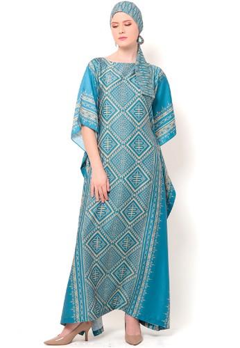 Kanzi by liza yahya blue Kanzi Tapis Kaftan Short Sleeve 9673DAA556C136GS_1