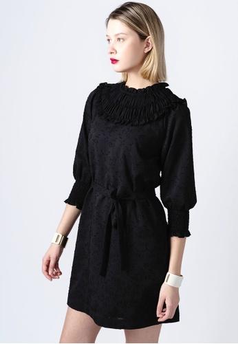 miss Viola black CHIFFON-BLOCK JACQUARD DRESS 1959CAAE8721AFGS_1