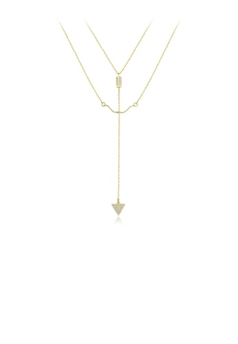 Glamorousky white 925 Sterling Silver Plated Gold Simple Creative Bow and Arrow Double Necklace with Cubic Zirconia 2AD51ACC6D7BB1GS_1