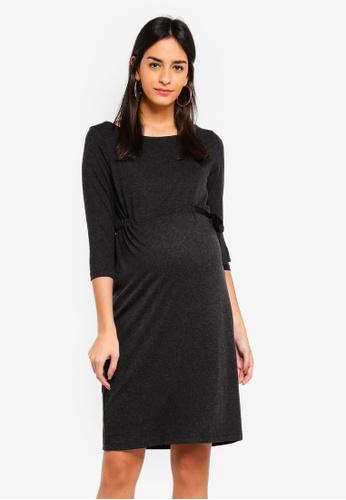 Mama.licious grey Maternity Nanja 3/4 Jersey Dress 878E3AAD4C4B13GS_1